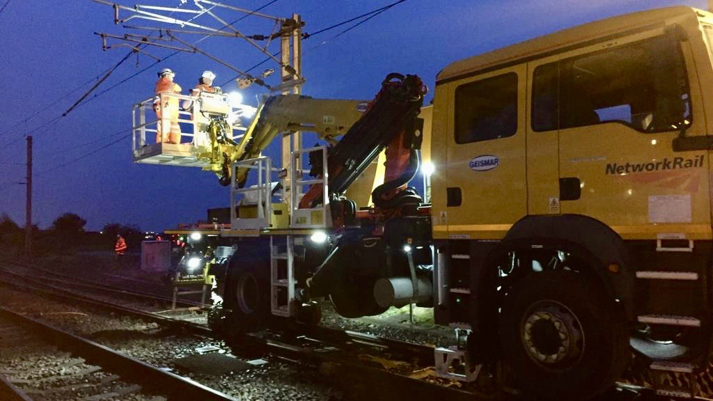 Passengers thanked for their patience during emergency West Coast main line repairs: Overhead line repairs Hest Bank 17 January 2020 1