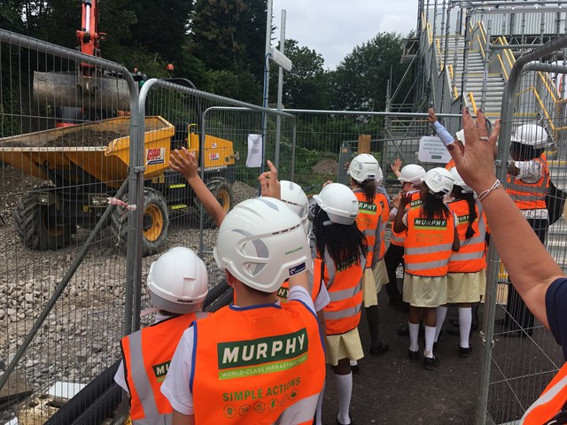 Corpus Christi pupils on their special tour of Stechford station upgrades