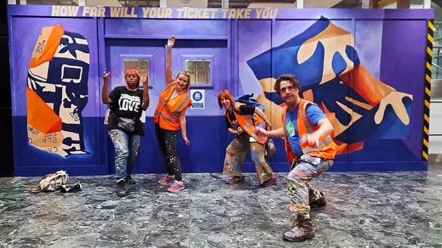 Art students create striking train ticket mural at Euston station: Artmongers painting Euston Mural