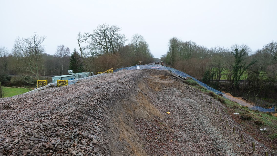 VIDEO AND PICTURES: Redhill-Tonbridge railway to reopen by the end of March as Network Rail starts work repairing massive landslip: Edenbridge Landslip