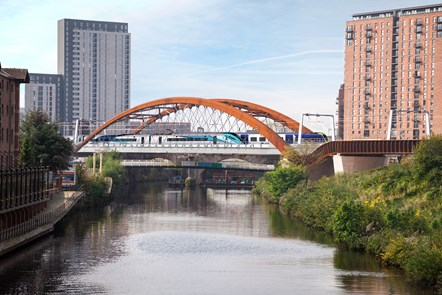 Ordsall Chord with train CGI