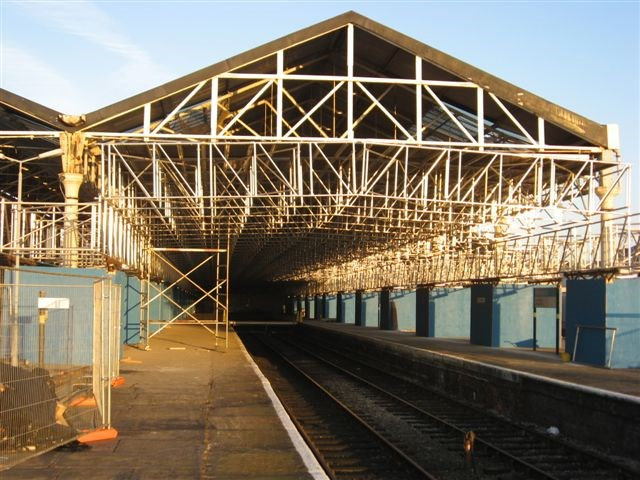 Southport station roof: Crash decing installed under the station roof prior to roof renewal project.