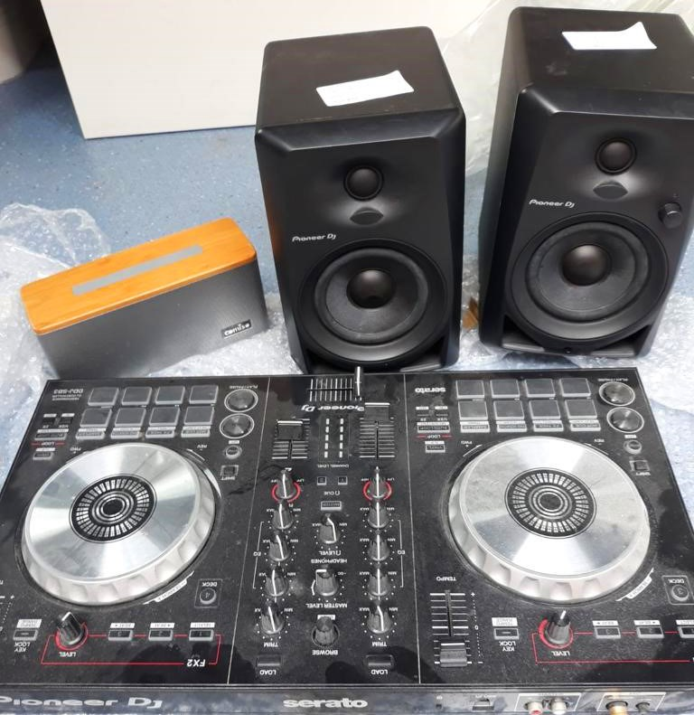 dJ decks  & speakers.: A range of sound equipment such as DJ decks were seized due to continued loud levels of noise.