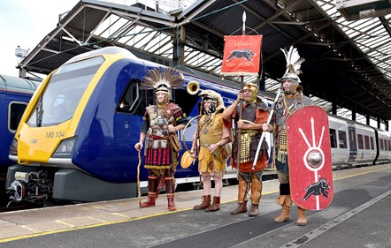 Chester 2: The Romans of Deva Victrix welcome the train of the same name to Chester station