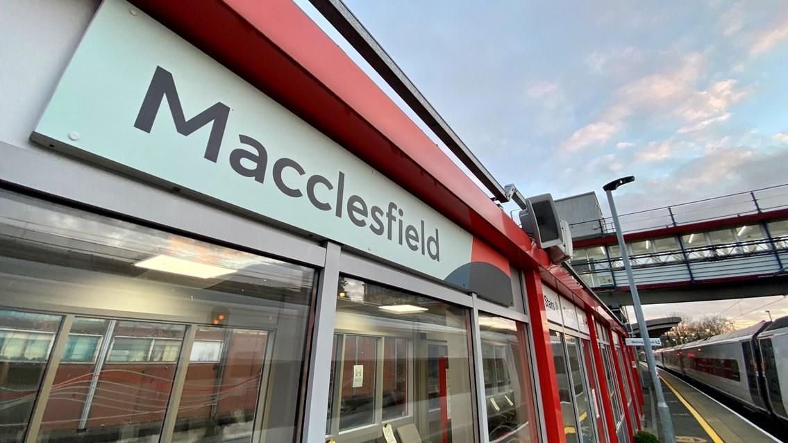 Major upgrade to passenger lifts at Macclesfield station starts next week: Macclesfield station wide angle sign