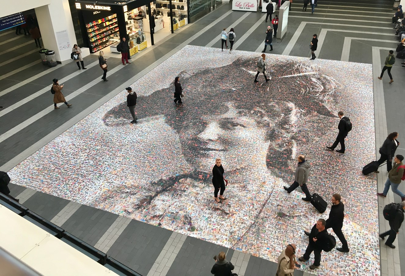 Last chance to see hugely popular 'Face of Suffrage' photo mosaic at Birmingham New Street: Face of Suffrage artwork on launch day November 15