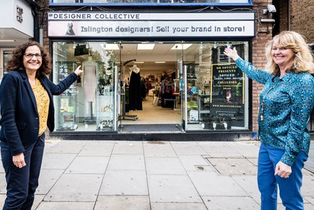 Cllr Asima Shaikh and Fashion-Enter CEO Jenny Holloway outside the FC Designer Collective store