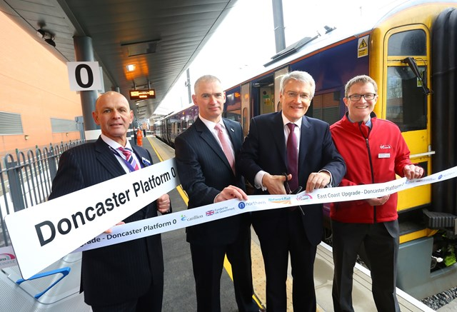 More trains and more reliable journeys for Doncaster passengers: Mark Nixon (Northern), Rob McIntosh (Network Rail), Andrew Jones MP and David Horne (Virgin Trains East Coast) at the official opening of Doncaster platform 0