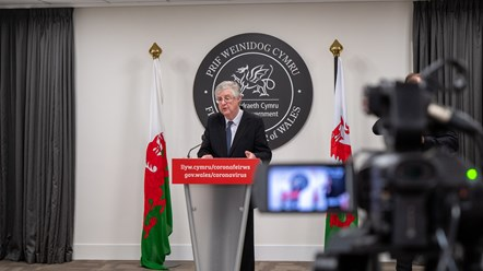 Stay Local to Keep Wales Safe: Changes to the lockdown announced: FM Presser Camera 2