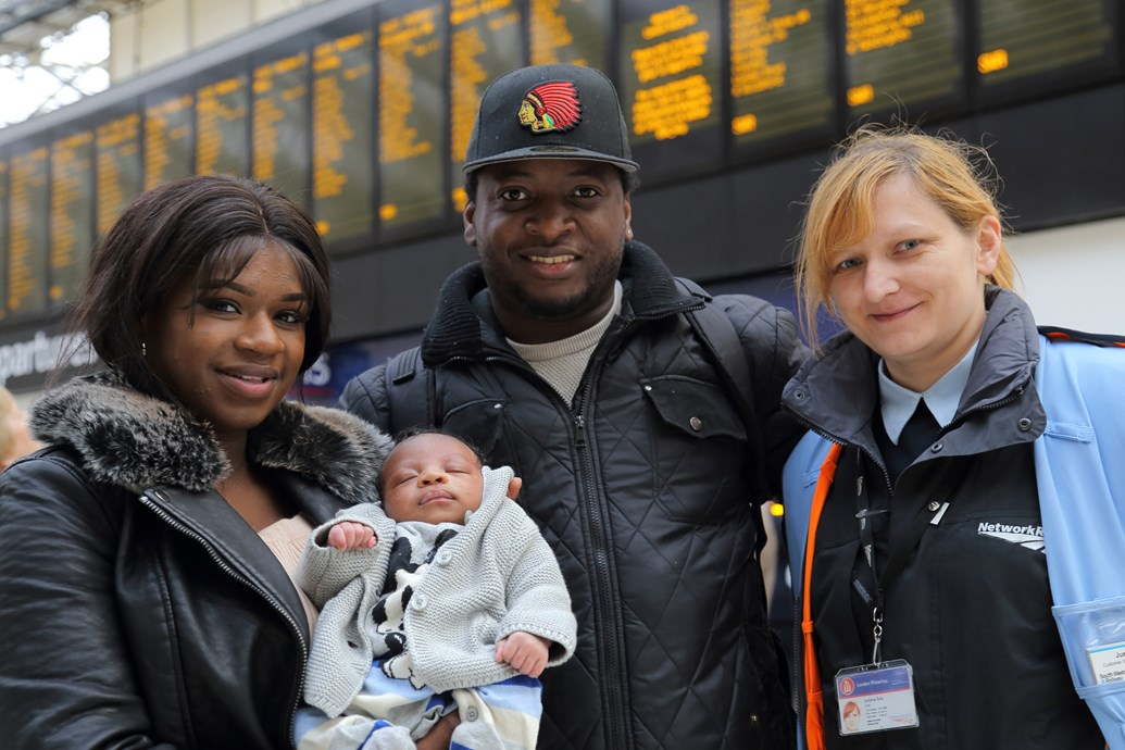 First baby born at Waterloo station: Evelyn Brandao with baby Reign and partner Hervon Charles and Justyna Syla shift station manager Network Rail