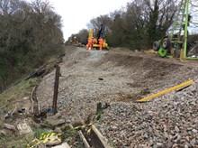 Wrecclesham Landslip site, during the line closure in April 2016
