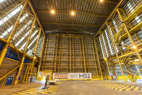 HS2 announces STRABAG concrete segment award Hartlepool-6: HS2 Minister announces that STRABAG will be manufacturing 36,000 precast tunnel segments for HS2's London tunnels from a factory in Hartlepool. 100 jobs will be created at the factory.  Image Date: October 2021  Tags: Supply Chain, Tunnels. SCS, HS2 Minster, STRABAG