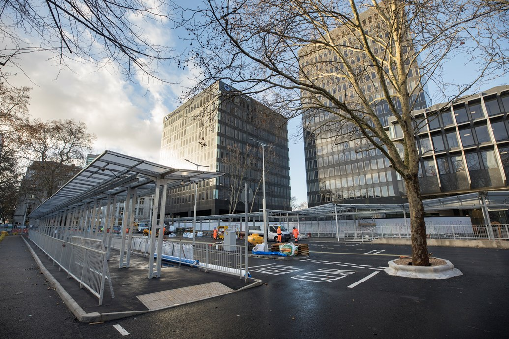 Euston's taxi rank moves above ground as part of 2019 station changes: Euston station's new outdoor taxi rank January 2019