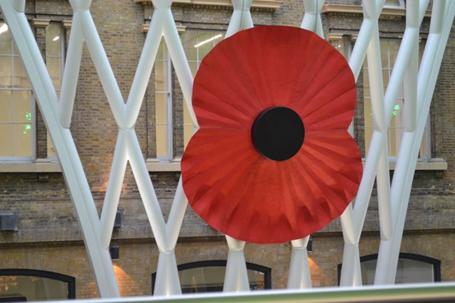 Network Rail supports Poppy Day in Leeds: Giant poppy at London King's X