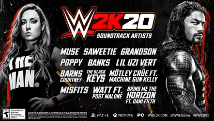 WWE 2K20 In-Game Soundtrack Announced - Break Genre Boundaries With This Year's Playlist: WWE2K20 Soundtrack Artists Infographic