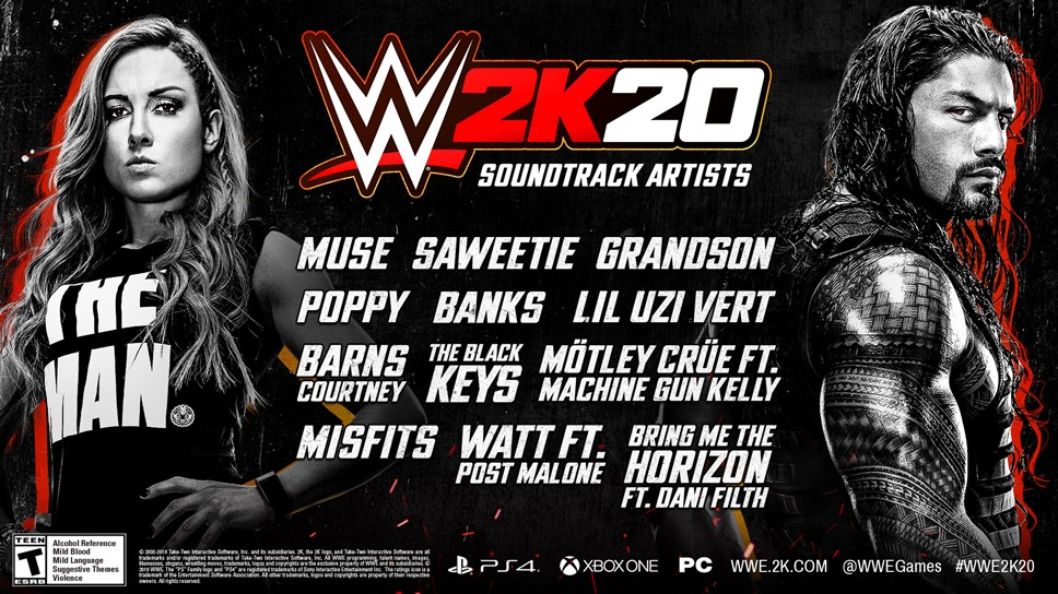WWE® 2K20 In-Game Soundtrack Announced - Break Genre Boundaries With This Year's Playlist: WWE2K20 Soundtrack Artists Infographic