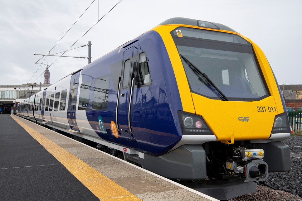 More new trains enter service in Lancashire: New electric train (331011)  at Blackpool North