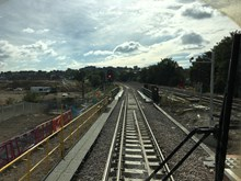 Rochester loop: Driver's eye view of the new loop at Rochester station, just about to cross Blue Boar Lane