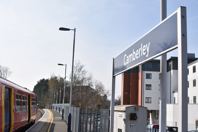 Longer platforms for longer trains: Network Rail completes Camberley station upgrades: Camberley station - 1
