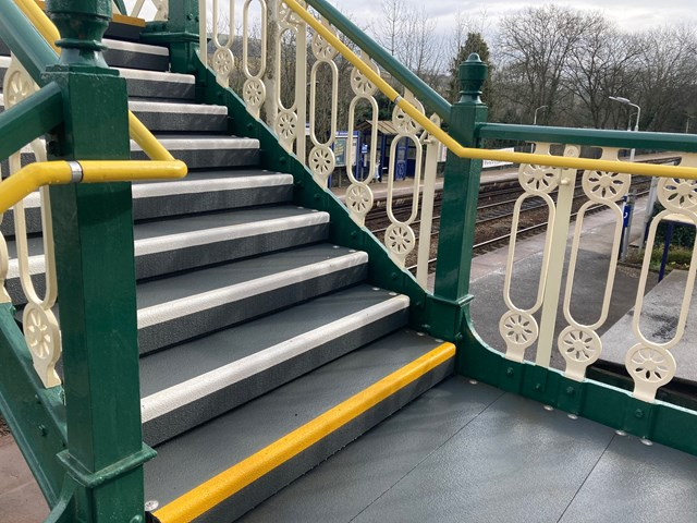 Close of up new stairs and floor grip on Furness Vale station footbridge
