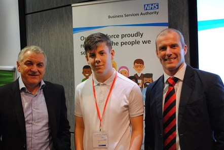 MP praises new NHSBSA partnership that's bridging the gap between education and work: Photo one (L-R) Alistair McDonald, Kieren Forrest, Ben Mason
