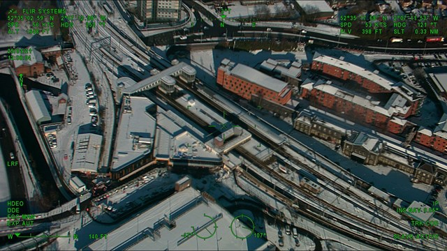 Aerial view of Wolverhampton station in the snow - Credit: Network Rail Air Operations team