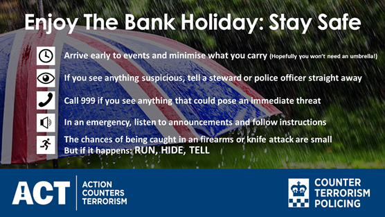 Counter Terrorism Policing urge public to stay safe this Bank Holiday weekend: Twitter-Tempate-CTP-BankHoliday