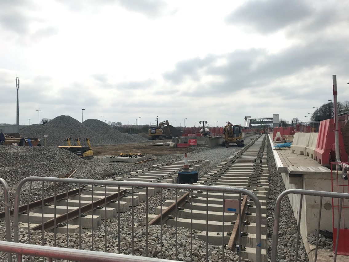 The countdown is on! Rail passengers urged to plan ahead with less than a month to go until major milestone in Midland Main Line Upgrade: Newly laid track at Market Harborough