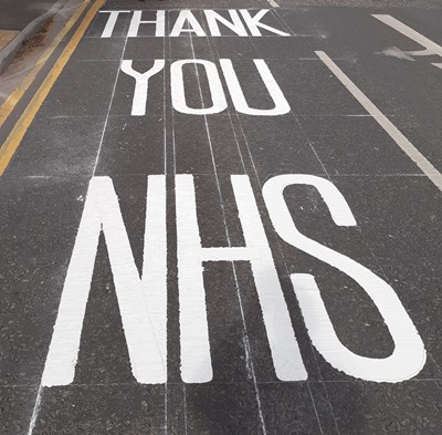 COVID-19: Special thanks to our NHS staff as 'thank you' road marking installed outside hospital