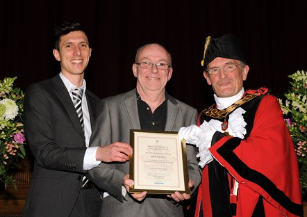 Mick Havens - winner of the Mayor's Civic Awards 2019: With Ramzy Alwakeel, Editor of the Islington Gazette and Mayor of Islington Cllr Dave Poyser