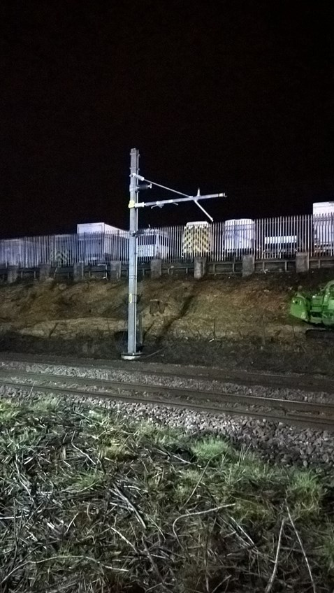 Overhead power line stanchion being put up near Bolton