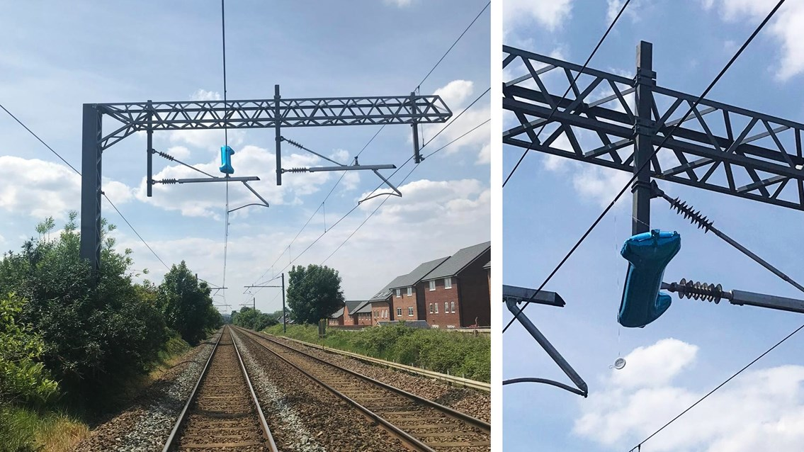 Float-away helium party balloon delays trains to Liverpool: The helium balloon on the overhead lines at Prescot in Liverpool