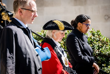 National silence for HRH The Duke of Edinburgh: From left: Leader of Islington Council Cllr Richard Watts, Mayor of Islington Cllr Janet Burgess, Deputy Leader Cllr Kaya Comer-Schwartz.
