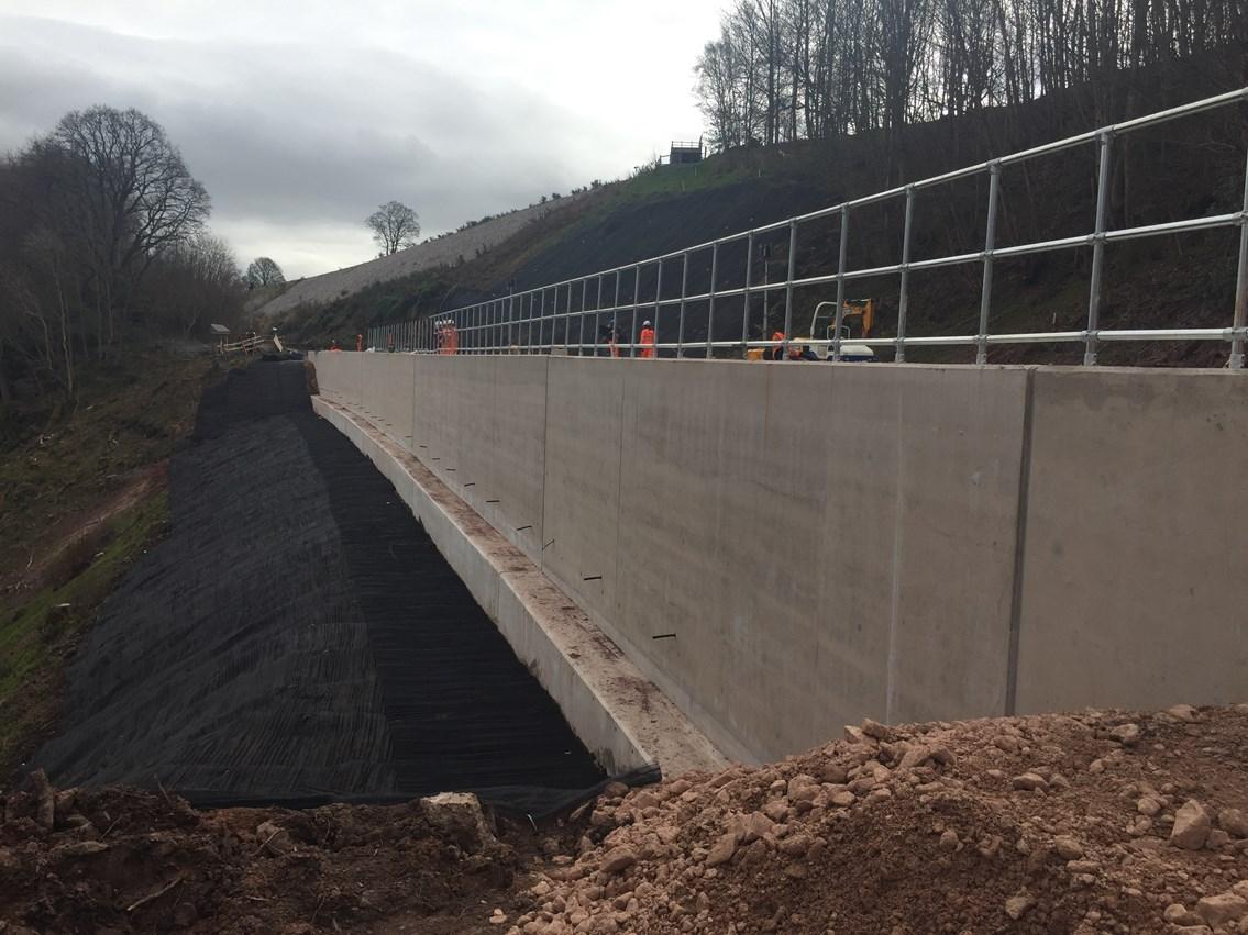 A profile view of the 6000 tonne concrete shelf at Eden Brows