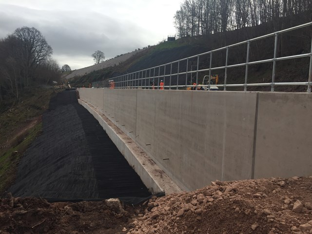 A profile view of the 6000 tonne concrete shelf at Eden Brows
