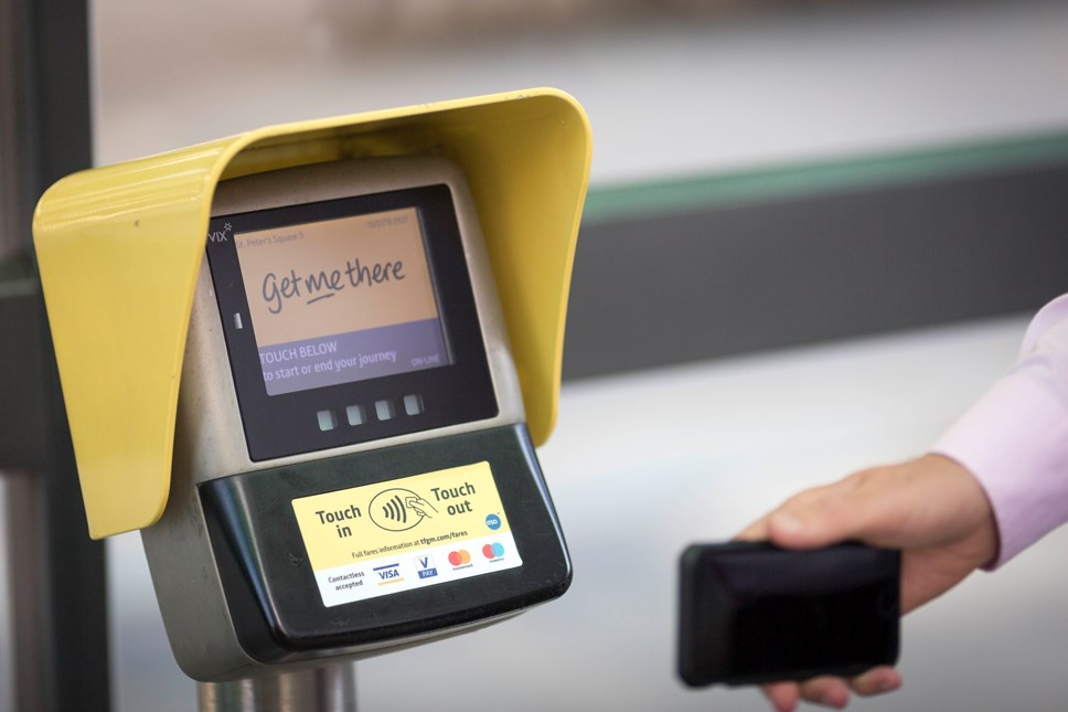 Metrolink customers take to contactless as trips top 170k: Contactless Metrolink - smart reader with phone