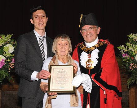 Irene Francis - winner of the Mayor's Civic Awards 2019: With Ramzy Alwakeel, Editor of the Islington Gazette and Mayor of Islington Cllr Dave Poyser