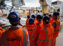 Thameslink apprentices: Thameslink apprentices from Network Rail, Balfour Beatty Rail and Siemens, learning on-site at London Bridge station (2016).