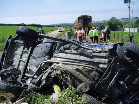Car after collision with train at Chapel level crossing near Newquay