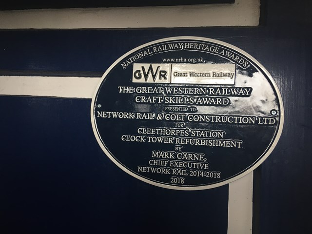 Cleethorpes clock tower plaque