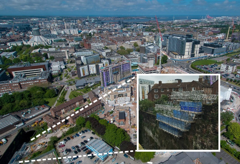 Lime Street wall collapse aerial inlay