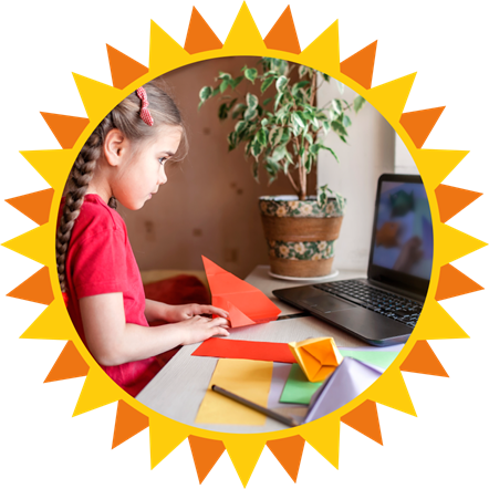 Heatwave 2020 image showing a child at a computer