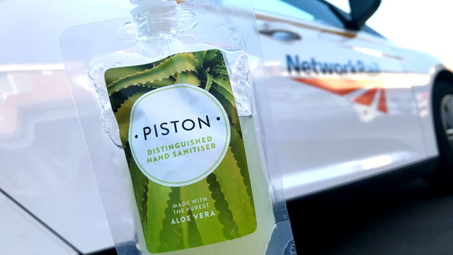 Distillery lifts railway spirits with hand sanitiser delivery: Piston Gin hand sanitiser (1)