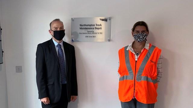 Chris Heaton-Harris MP and Ellen Wintle from Network Rail