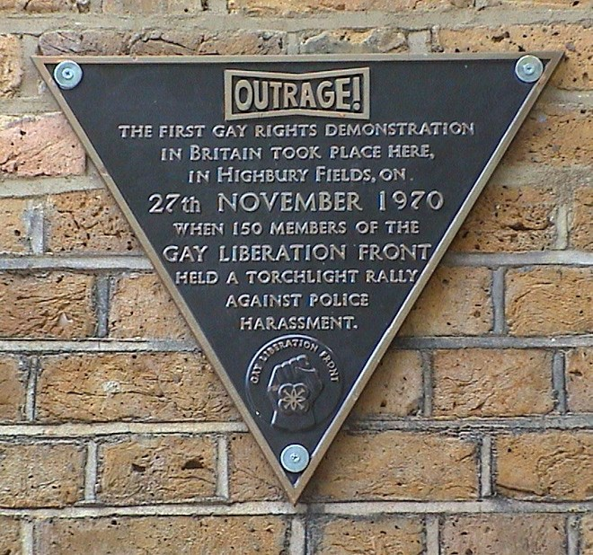 Bumper line-up of events to celebrate LGBT History Month 2019: Outrage plaque Highbury Fields