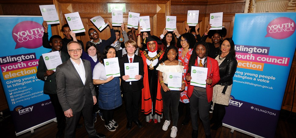 Islington welcomes its new young leaders: Members of the youth council 2020 with council leader Richard Watts (left, foreground), Cllr Rakhia Ismail (centre), Cllr Kaya Comer-Schwartz (fourth from the right), and council chief executive Linzi Roberts-Egan (right)