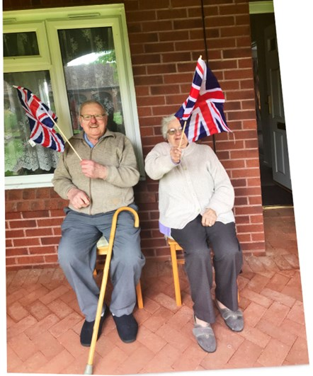 Customers celebrating VE Day