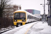 Normal timetable resumes from Monday 5 March: Class 465 in snow at Dartford