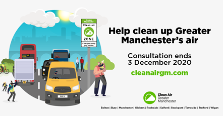 Help clean up Greater Manchester's air: Graphic image of vans, buses, taxis driving on roads, with a sign about the Grater Manchester Clean Air Zone. It has text that says help clean up Greater Manchester's air and a link to cleanairgm.com