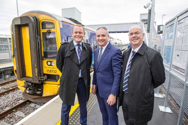 Opening image: Alex Hynes (L) is joined by Richard Lochhead MSP and Roy Brannen of Transport Scotland at the opening of Forres station